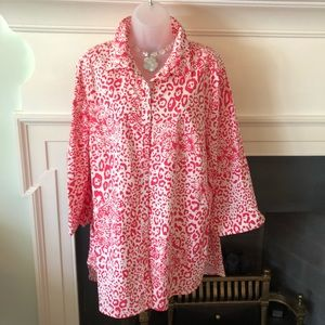 Investments II WrinkleFree Pink/White Floral Tunic